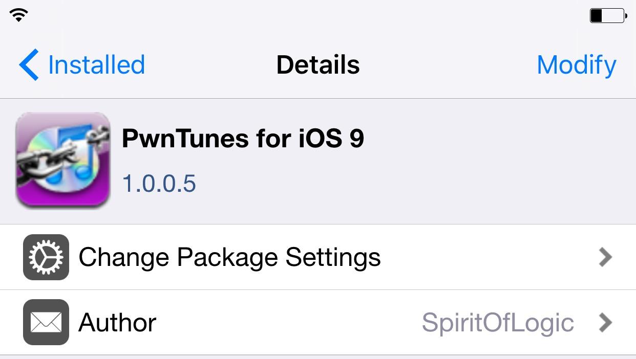 PwnTunes pour iOS 9